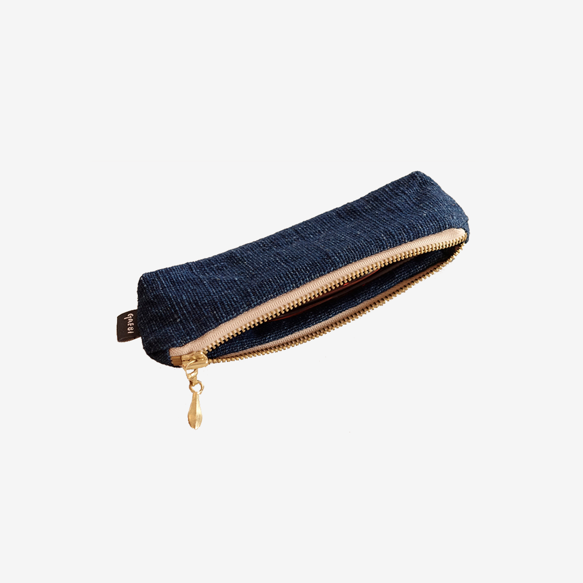개비 Hand-woven Pencil Case_Indigo Navy